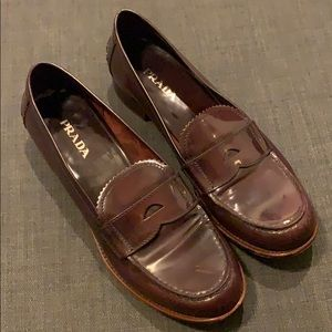 Brown patent leather loafers